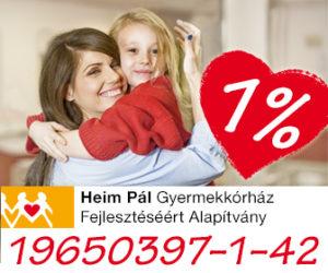 Heim Pál Gyermekkórház Fejlesztéséért Alapítvány 1 %-is bannere