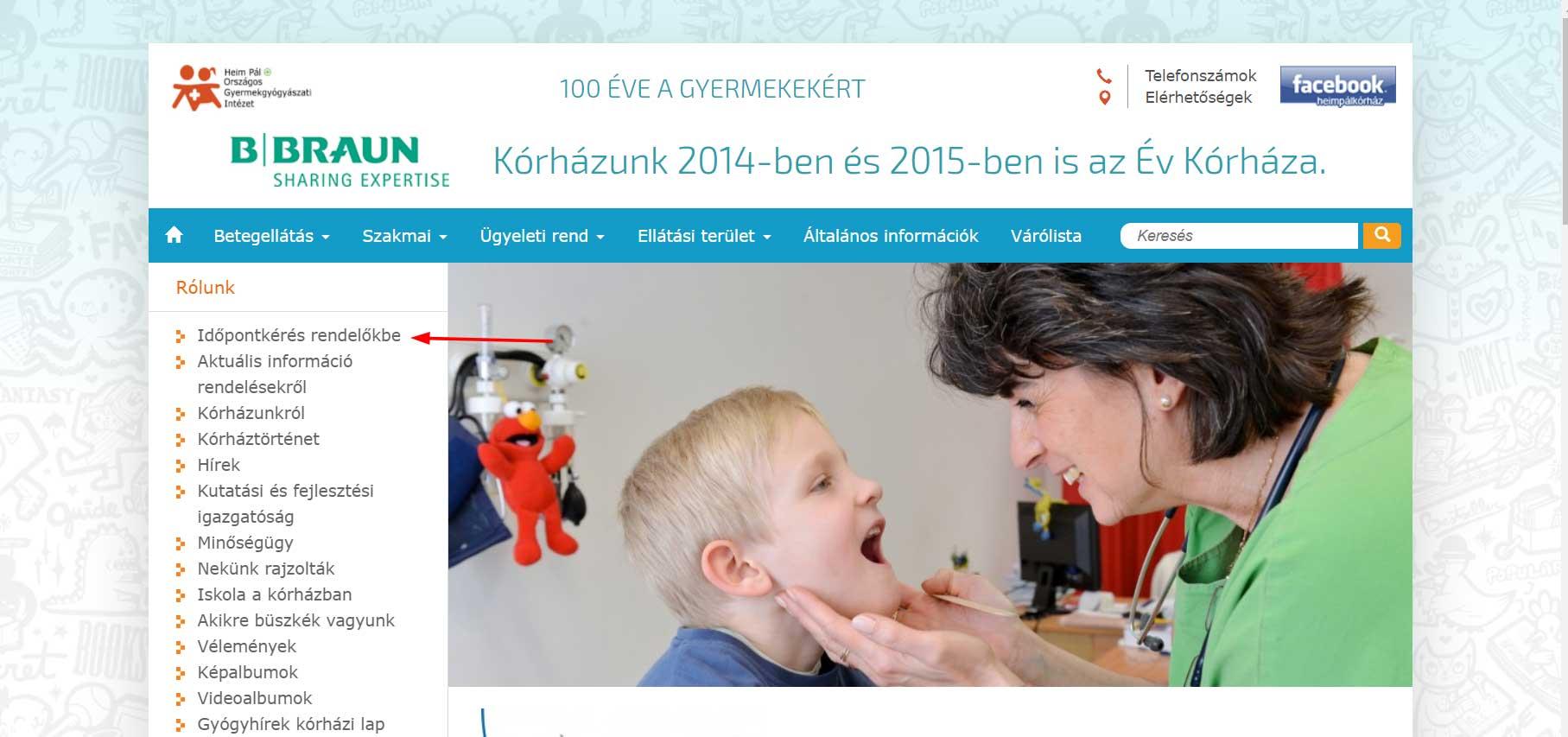 Időpont kérés helyének bemutatása a Heim Pál Gyermekkórház oldalán.